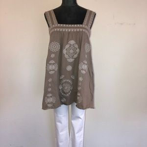 BCBGMaxazria Embroidered Tunic Tank Top